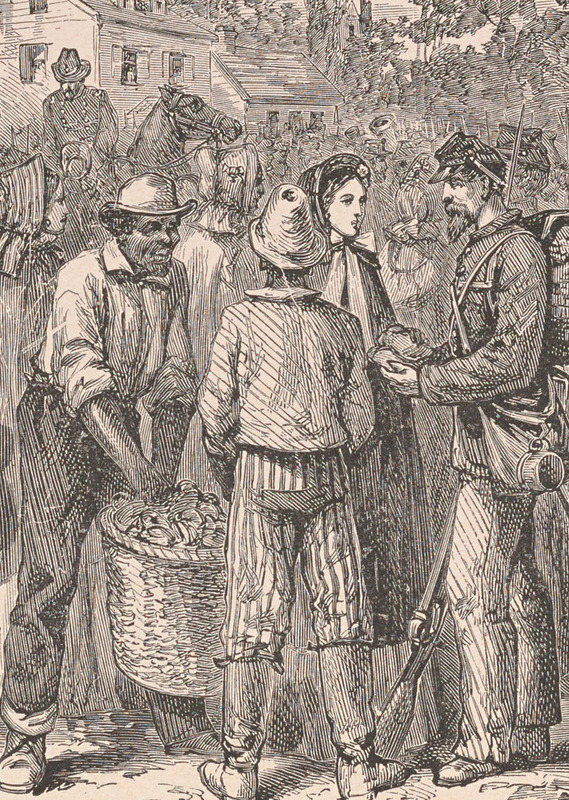 """Detail, """"Serving refreshments to Union troops,"""" from Joseph T. Wilson, The Black Phalanx: ... Hartford: American Publishing Co., 1888."""