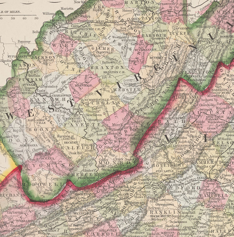 Detail, William H. Gamble, County map of Virginia and West Virginia. Philadelphia: [S. A. Mitchell?, 1866?]