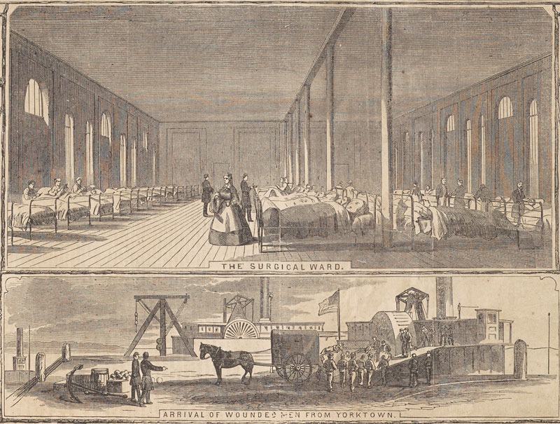 """Detail of """"The General Hospital at Fortress Monroe,"""" from Harper's Weekly. New York: Harper & Brothers, 7 June 1862."""