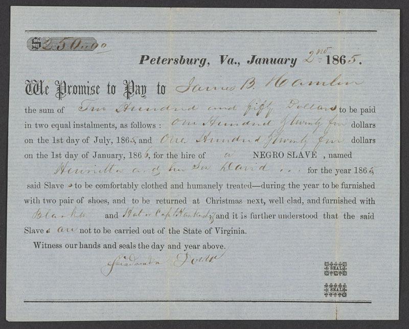 Promissory note hiring slaves, Petersburg, Va., 2 January 1865.
