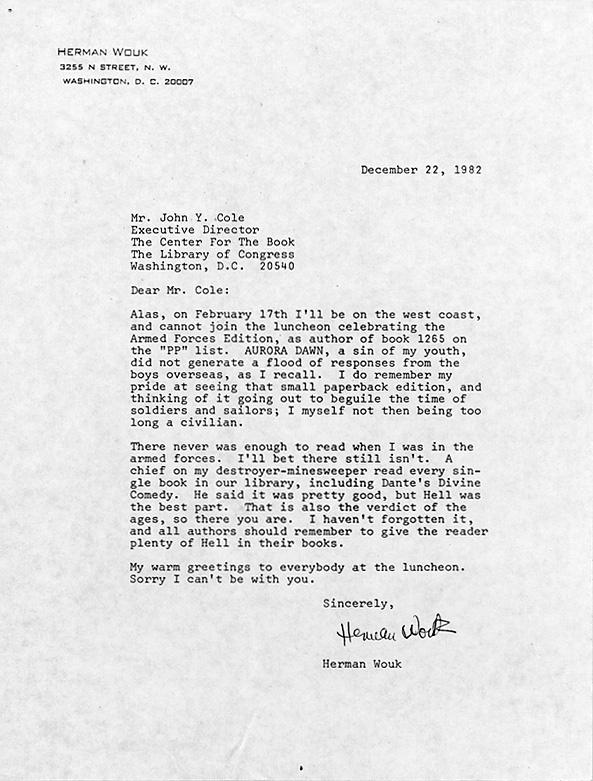 Herman Wouk. Letter to John Y. Cole, 22 December 1982. Photocopy