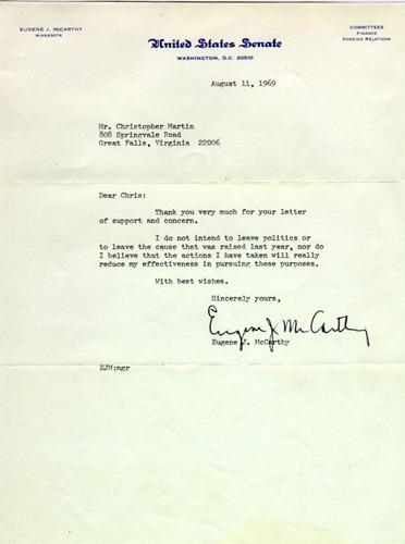 Letter, Senator Eugene McCarthy to Christopher Martin