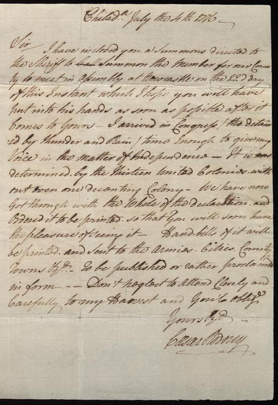 Caesar Rodney. Letter from Caesar Rodney to Thomas Rodney, 4 July 1776. (MSS 12568-a)