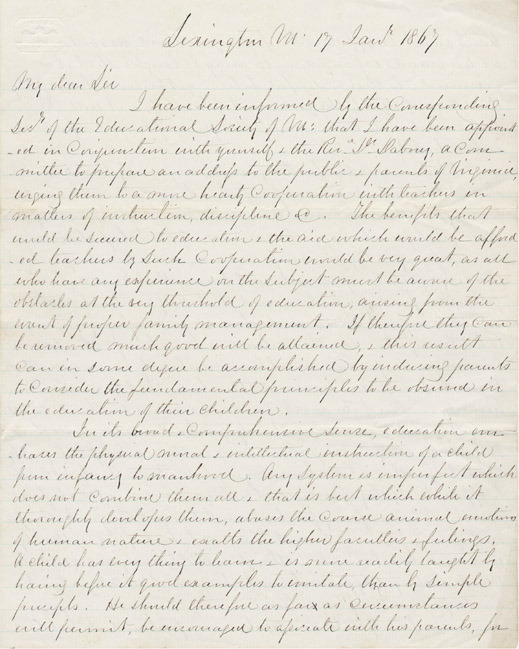 Autograph letter signed. Robert E. Lee to John Barbee Minor. 1867 January 17.