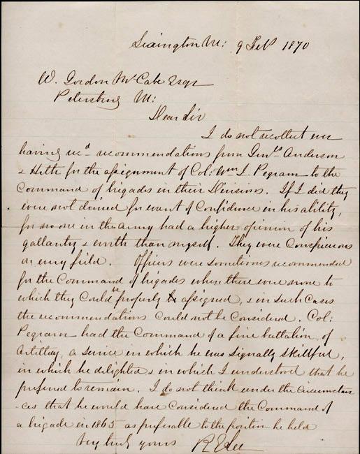Robert E. Lee to William Gordon McCabe. 1870 February 9.