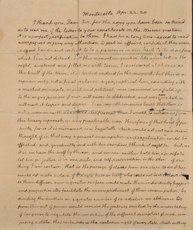 Thomas Jefferson, Letter to John Holmes, 22 April 1820.