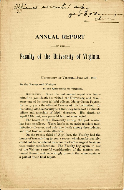 Annual Report of the Faculty<br /><br />