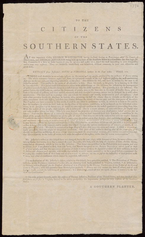 To the citizens of the Southern States … [Philadelphia?, 1796]
