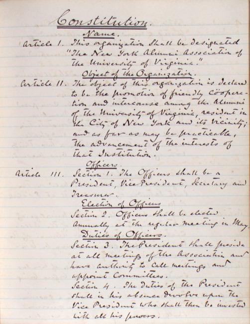 Minutes. University of Virginia Alumni Association, New York Chapter. 1870.