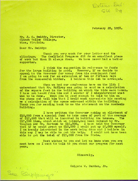 Typed carbon copy letter. Colgate W. Darden, Jr. to J. C. Smiddy. 1958 February 20.