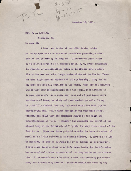 Typed carbon copy letter. Edwin Anderson Alderman to Robert A. Lapsley. 1911 December 12