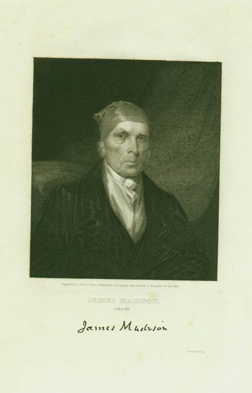 Engraving of James Madison. 1833