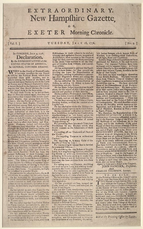 Declaration. New Hampshire Gazette, or Exeter Morning Chronicle. July 4, 1776. (KF4506 .A1 1776f)