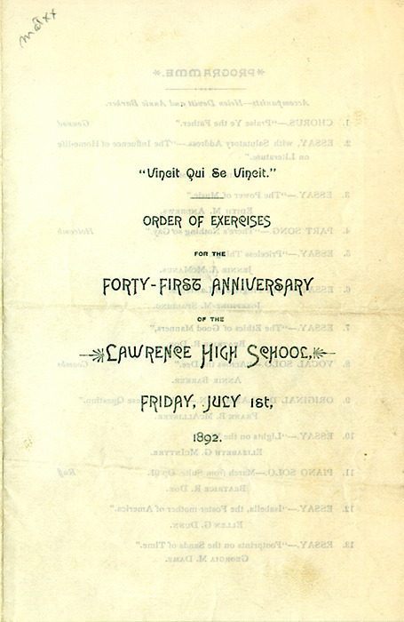 Lawrence High School Order of Exercises