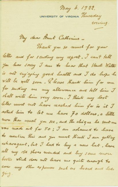 Autograph letters, signed. Julien Green to Catherine Hartridge. 1922 April 18 and May 4.