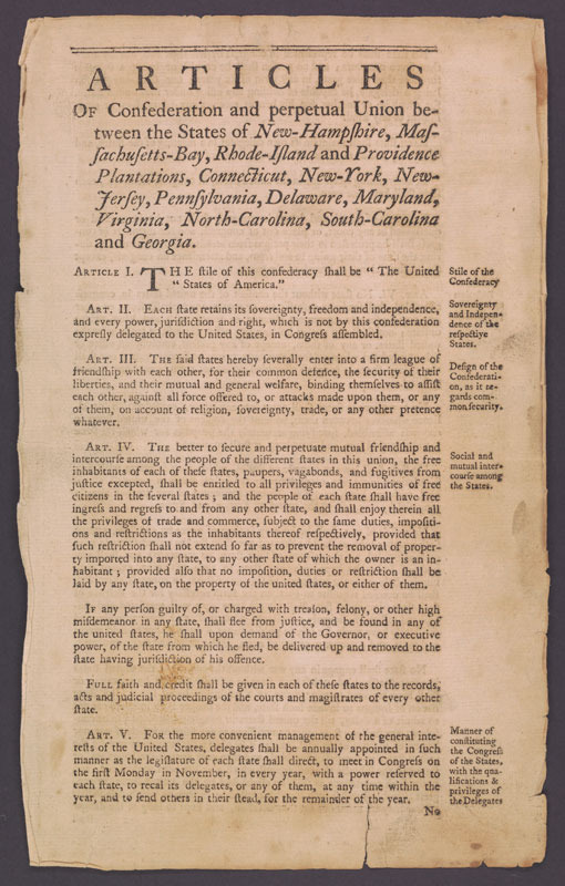 United States, Articles of Confederation and perpetual union, 1777.