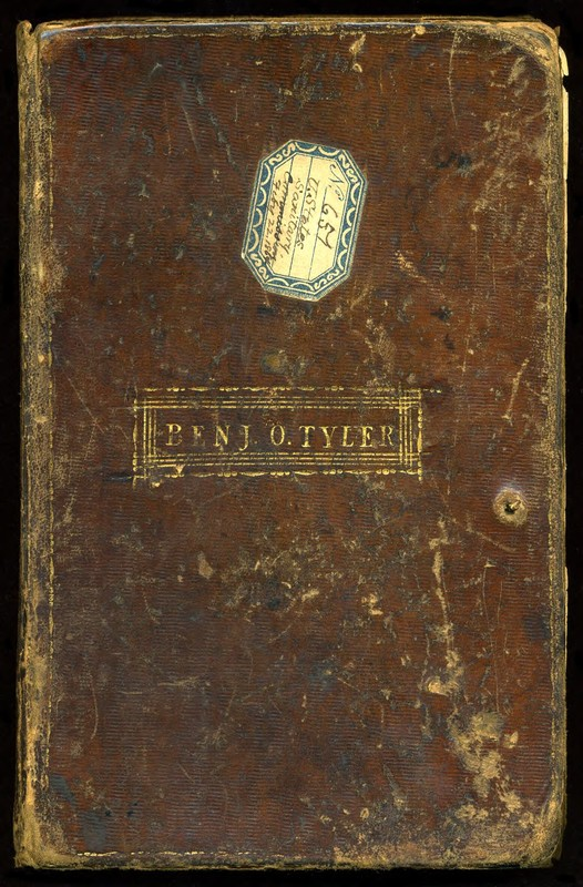 Benjamin Owen Tyler. Subscription book for a facsimile of the Declaration of Independence, 1815-1818. Front Cover. (MSS 12143)