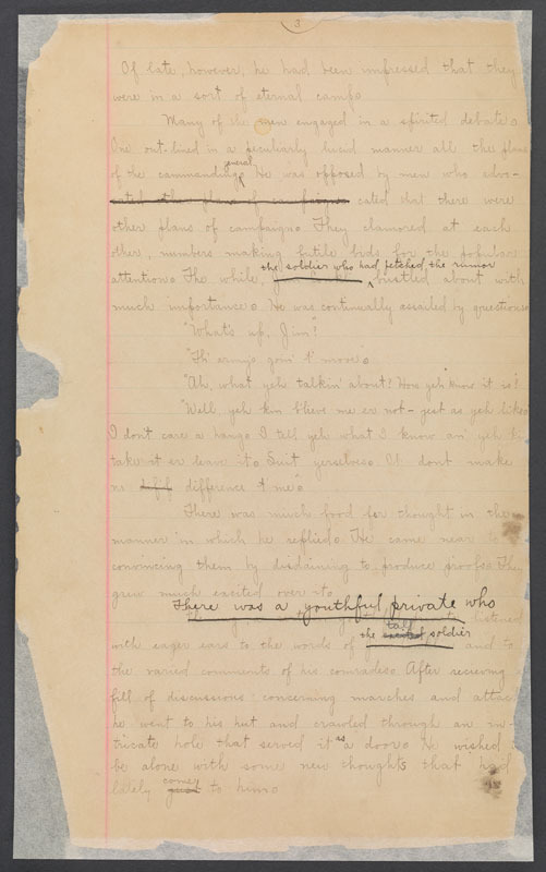 """Stephen Crane, """"The red badge of courage,"""" a leaf from the original manuscript, 1894."""