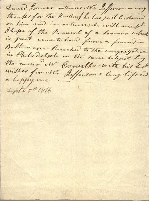 David Isaacs. Letter to Jefferson. Sept. 5, 1816