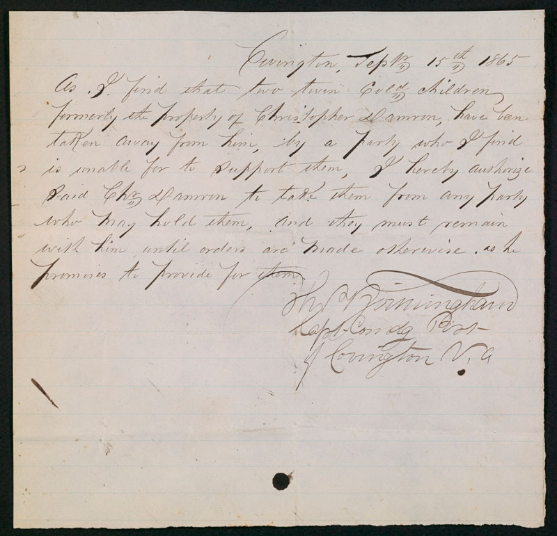 Thomas Birmingham, Authorization for the return of two slave children, 15 September 1865.