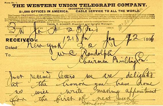 telegram: Stanford White to W.C.N. Randolph