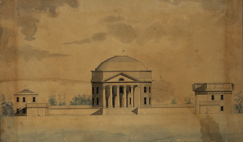 Study for Elevation of Rotunda and Pavilions IX and X, 1823.