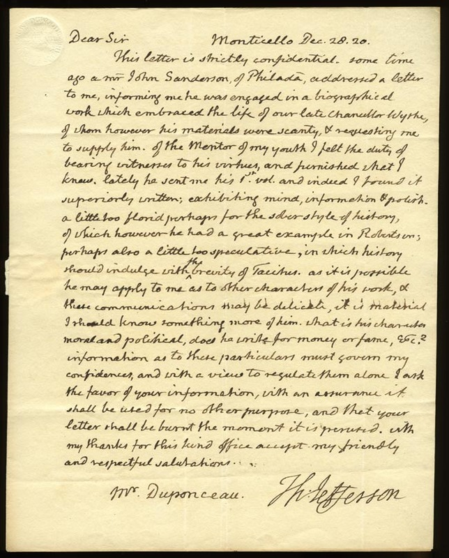 Thomas Jefferson. Letter from Thomas Jefferson to Peter S. DuPonceau, 28 December 1820. (MSS 12613-a)