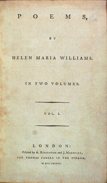 Helen Maria Williams. Poems. 1786