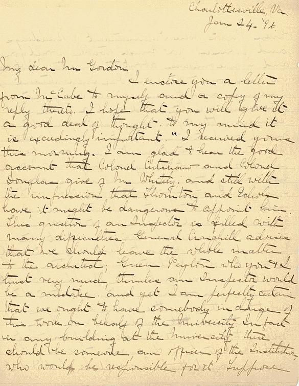 W.C.N. Randolph, to Armistead Gordon<br /><br /> January 24, 1896
