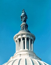 Statue Freedom. View on top of U.S. Capitol Building