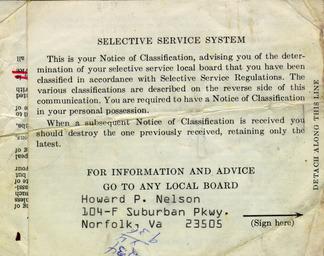 U.S. Selective Service Draft Card, 1971.