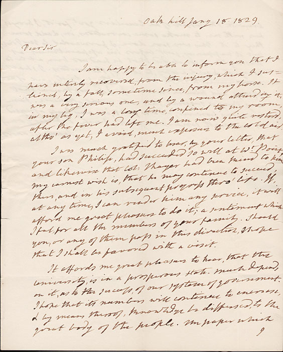 Autograph letter, signed. James Monroe to John Hartwell Cocke. 1829 January 18.