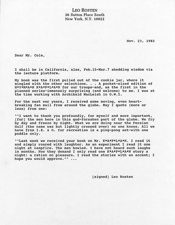 Leo Rosten. Letter to John Y. Cole