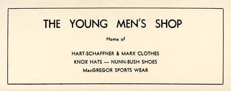 The Young Men's Shop, card