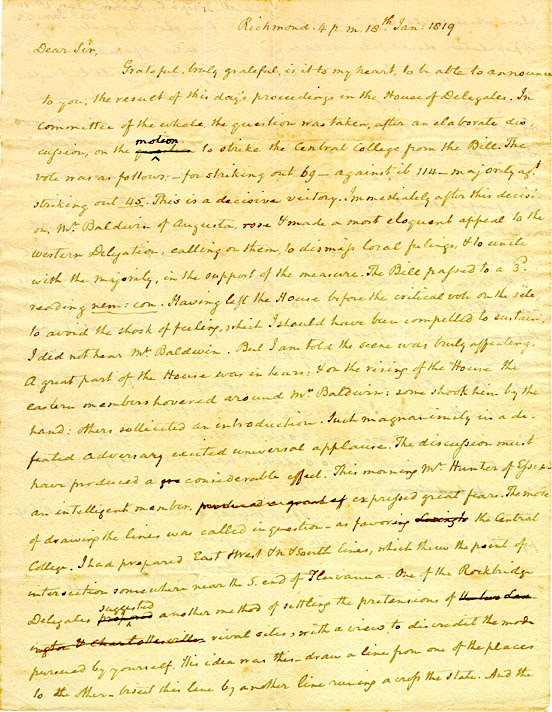 Autograph letter, signed. Joseph Carrington Cabell to Thomas Jefferson. 1819 January 18
