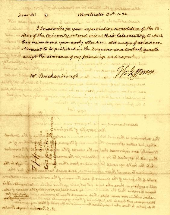 1822 Oct. 11. Thomas Jefferson, Monticello to Arthur S. Brockenbrough, University of Virginia. ALS. 2 pp. endorsed.