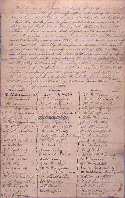Student petition requesting two weeks for a Christmas holiday. 1832.