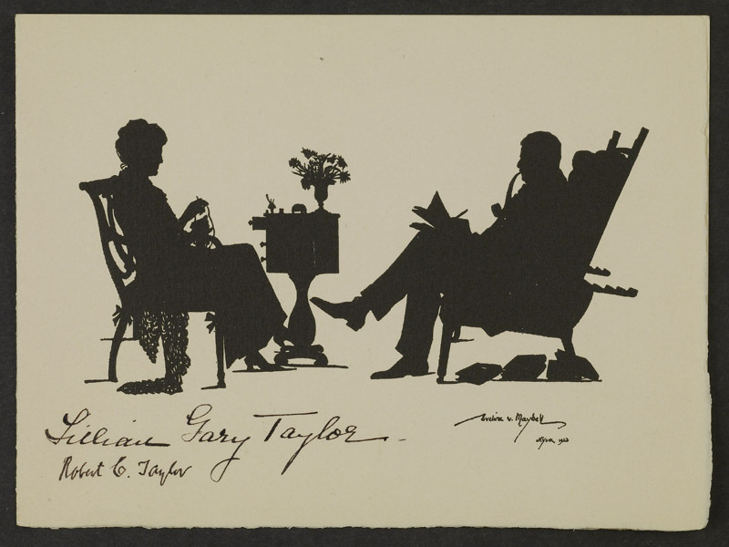 Silhouettes of Lillian Gary Taylor and Robert Coleman Taylor, 1923. Gift of Mrs. R. C. Taylor (MSS 9177-b)