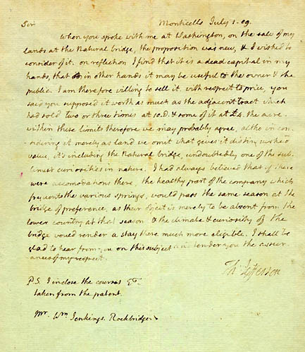 Thomas Jefferson. Letter to William Jenkings