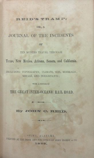 John Coleman Reid, Reid's tramp, 1858.