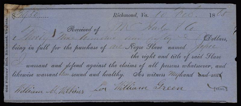 Bill of sale for the slave Jefree, Richmond, Va., 10 February 1865.