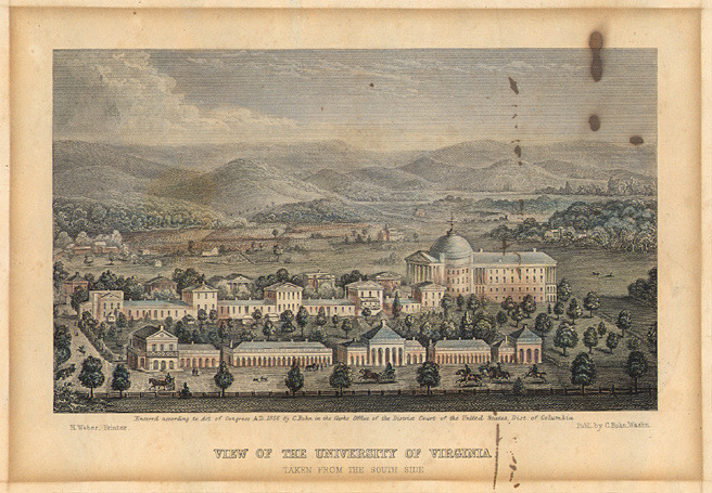 View of the University of Virginia, Taken from the South Side, 1856.