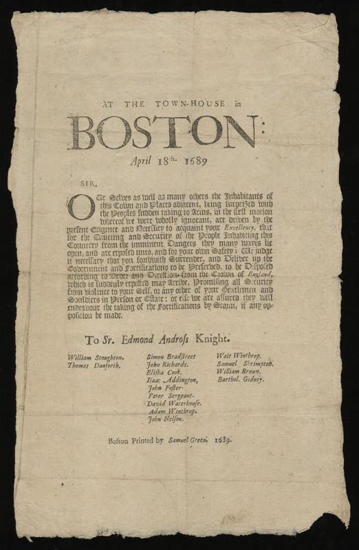 At the Town-House in Boston: April 18th. 1689 ..., 1689.