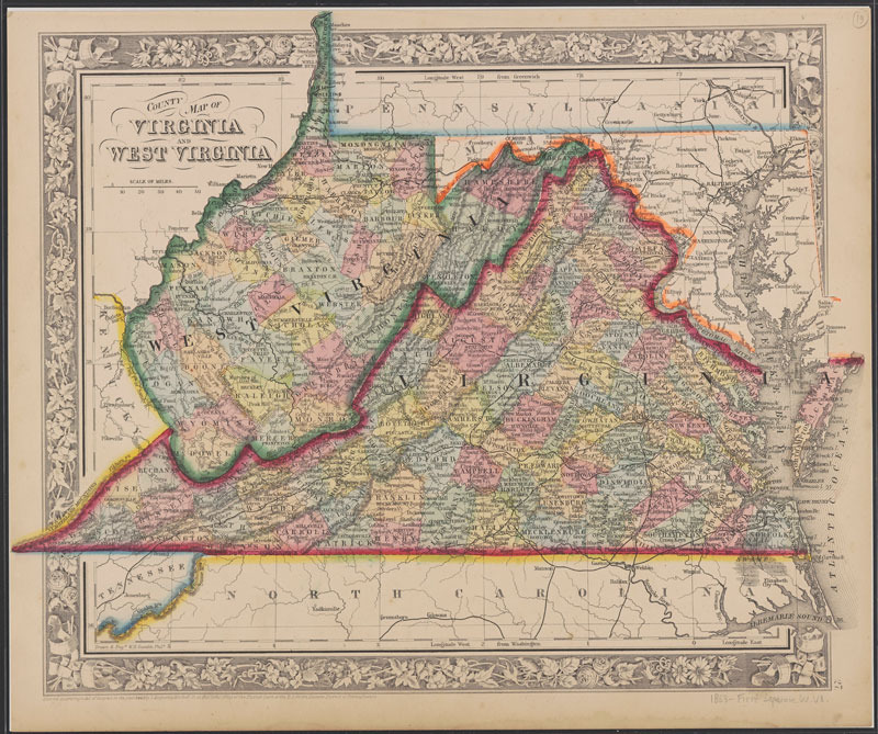 William H. Gamble, County map of Virginia and West Virginia. [Philadelphia: S. A. Mitchell, 1865]