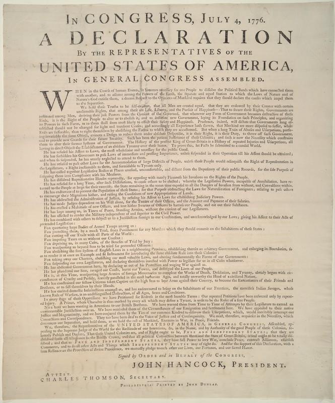 Declaration. Philadelphia: John Dunlap, [1776].