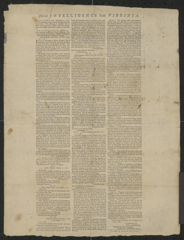 Official intelligence from Virginia, 1781.