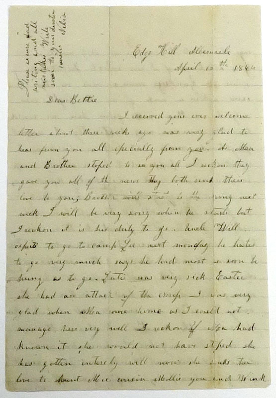 Nelia W., Letter to Bettie, 10 April 1864.