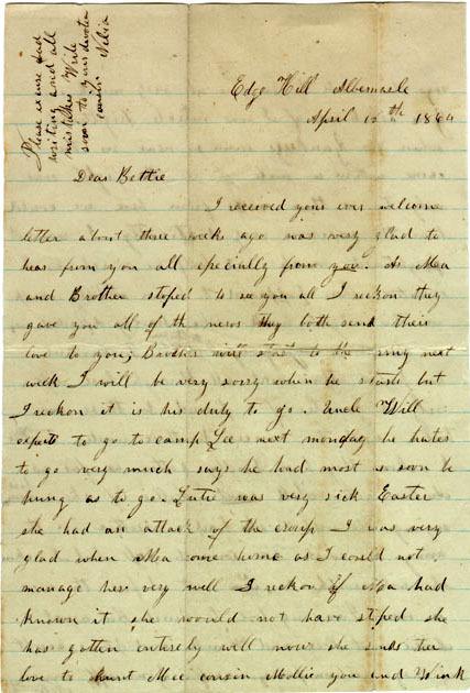 School girl letter, 1864