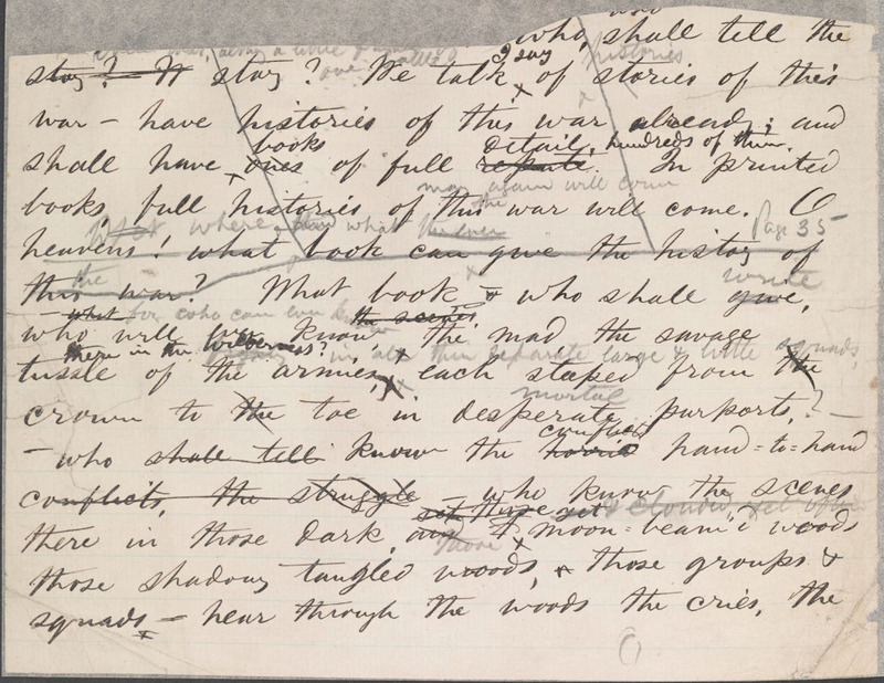 "Walt Whitman, Manuscript fragment of ""A Night Battle, Over a Week Since,"" ca. May 1863."