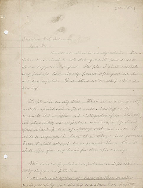 Autograph letter. William M. Thornton to President E.A. Alderman. ca. 1904.